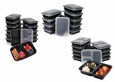 10Pcs Food Grade Bento Plastic Storage Container Box W/ Lid - 1/2/3 Compartments
