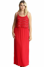 New Womens Plus Size Maxi Dress Ladies Floral Lace Sequin Tank Top Sleeveless