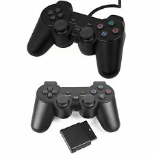 Wired Wireless Black Dual Shock Controller for PS2 PlayStation 2 Joypad Gamepad