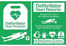 NEW UPDATED 2017 AED / DEFIBRILLATOR POSTER SIGN STICKER
