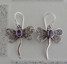 Gemstone Solid Silver, 925 Bali Handcrafted Dragonfly Design Earring 39170