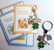 Good Luck Travelling Key Ring or Bag Charm Gap Year Air-plane Lucky Clover Charm