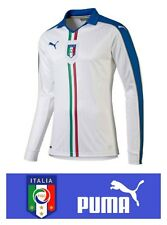 PUMA Italy Away Football Shirt Mens Team L/S White Jersey FIGC Italia Player fit