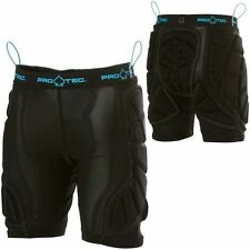 PROTEC Womens Padded Snowboard Shorts - Hip Protection - Black / Baby Blue