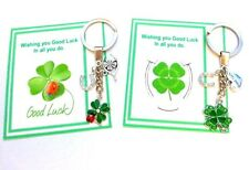 Good Luck 4 Leaf Clover Lucky Key Ring on Gift Card with Horseshoe Wishbone