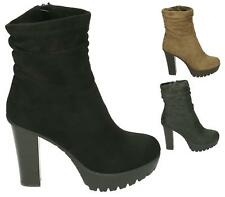 LADIES WOMENS FAUX SUEDE FASHION ZIP UP RUCHED HIGH BLOCK HEEL ANKLE BOOTS SHOES