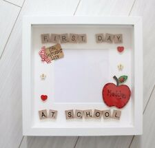 First 1st Day at School Nursery Personalised Apple Scrabble Photo Frame Keepsake