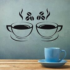 2 x CUP OF COFFEE wall art DECAL STICKER KITCHEN decor design 04 pub restaurant