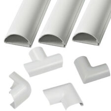 30mm x 15mm White Round D Trunking & Adapters–ADHESIVE BACKED–Cable Conduit Tube