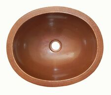 Mexican Copper Bathroom Sink Hand Hammered Oval Drop in  01 Brown Patina