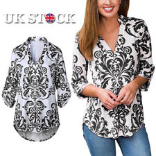 Womens Ladies Long Sleeve Casual Tops T-shirt V Neck Loose Blouse Shirts UK 6-14