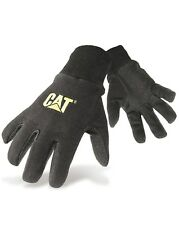 CAT Caterpillar Mens Jersey Dotted Gloves Black Heavy Duty Cotton Workwear