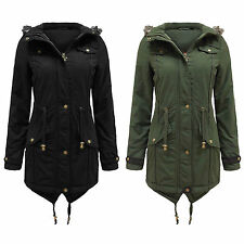 NEW WOMEN'S FAUX FUR HOODED LADIES DOVETAIL PARKA JACKET MILITARY COAT 8-22
