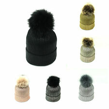 New Womens Winter Metallic Beanie Hat Detachable Faux Fur Bobble Pom Pom Hat