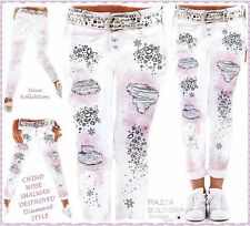 36 38 40 42 SOMMER CHINO HOSE DIAMANT-DESTROYED-PRINT JEANS WEIß-ROSA-GRAU ITALY