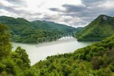 "Bildmotiv ""Landscape with a dam lake between mountains covered in beech forests"""