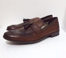 CLARKS MENS BROWN LEATHER SLIP ON SHOES UK SIZE 7 G