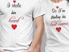 100% Cotton Couple T-Shirts Stole my Heart Hot Sexy Lovers in Love T-Shirt