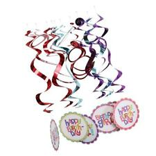12 Foil Hanging Swirls Bunting 1ra 16th 30a 50a Decoracion Aniversario
