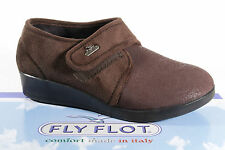 FLY FLOT PANTOFOLE DONNA Pantoffe Marrone NUOVO chiusura a strappo