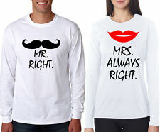 Full sleeve Couple T Shirt Mr Right Mrs Always Right For hot and sexy couple
