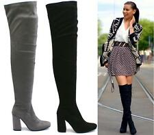 New Thigh High Over The Knee Boots Block High Heel Long Suede Womens Shoes Sizes