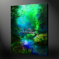 MAJESTIC PUENTE EN THE FOREST CLEARING LIENZO PARED MURAL ESTAMPADO CUADRO