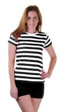 Girls Ladies Women Black Red Blue and White Striped Book Week T Shirt Fancy Top