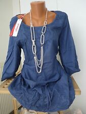 Sheego Viscose Blouse Tunique Erl 40-54 Broderie Bleue souple tombant (241) NEUF