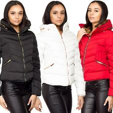 Ladies Women's New Quilted Fur Collar Bubble Padded Jacket Puffer Winter Coat UK