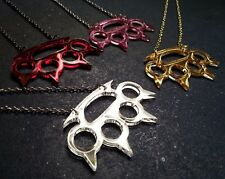 Brass Claw Knuckles Spikes Mirrored Metallic Statement Necklace Gold Red Pink