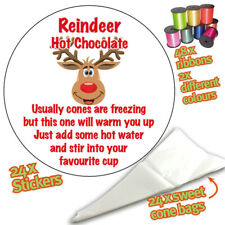 Christmas Reindeer Hot Chocolate Poem Stickers DIY Sweet Cone Party Bags -916