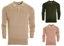 Men's Polo Pk Shirt Jumper Soft Knitted  Fine Gauge Collared Sweater pullover