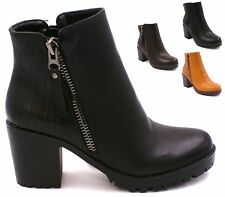New Womens Chelsea Ankle Boots Ladies Chunky Block Heel Grip Sole Winter Shoes S