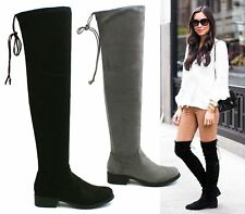 LADIES GIRLS THIGH HIGH OVER THE KNEE LOW HEEL LACE UP SLOUCH FLATS BOOTS SIZE 3