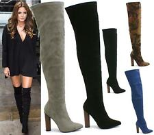 WOMENS THIGH HIGH BOOTS OVER THE KNEE STRETCH EVENING BLOCK MID HEEL BOOTS