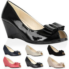 NEW WOMENS BOW LADIES PEEP TOE MID WEDGE HEEL FORMAL OFFICE SHOES SIZE 3-8