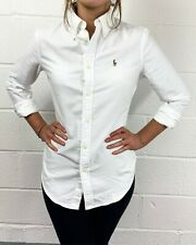 POLO RALPH LAUREN WOMENS GENUNE NEW WHITE CUSTOM FIT HARPER COTTON OXFORD SHIRT