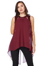 Roman Originals Ladies Sequin Cut Out Double Layer Top Red