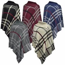 New Ladies Winter Warm Cosy Knitted Check Style Warp Poncho Shawl Sweater Jumper