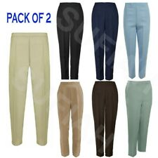 PACK OF 2 NEW WOMENS LADIES HALF ELASTICATED WAIST TROUSERS POCKETS PANTS BOTTOM
