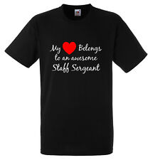MY HEART BELONGS TO AN AWESOME STAFF SERGEANT T SHIRT XMAS GIFT FUNNY