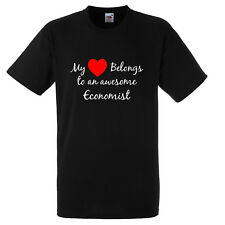 MY HEART BELONGS TO AN AWESOME ECONOMIST T SHIRT XMAS GIFT FUNNY