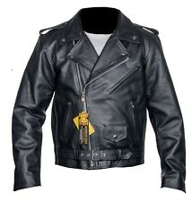 NEW Mens Black Leather Brando Perfecto Classic High Quality Cowhide Jacket