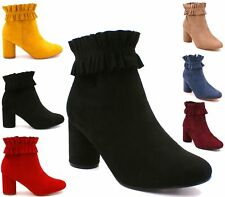 New Womens Ladies Ankle Boots High Block Heel Zip Comfy Pleated Shoes Sizes 3-8