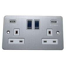 Brushed Chrome 13A Flat Plate White Insert USB Charger Light Switches & Dimmers