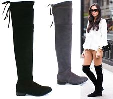 LADIES BLACK GREY THIGH HIGH OVER THE KNEE LOW HEEL BACK LACE FLATS BOOTS SIZE 3