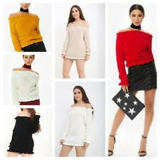 Women Ladies Frill Bardot Off the shoulder Long Sleeve Cropped jumper Knit top