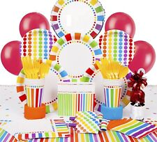 16Pcs Party Pack Stylish Rainbow Paper Plates Plastic Cups Napkins & Tablecloth