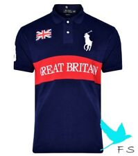 100% Authentic POLO RALPH LAUREN Custom Fit BP GBR Polo shirt Homme Men – NAV...